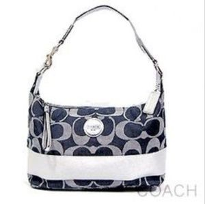 COACH - ALMOST NEW - Denim and metallic silver